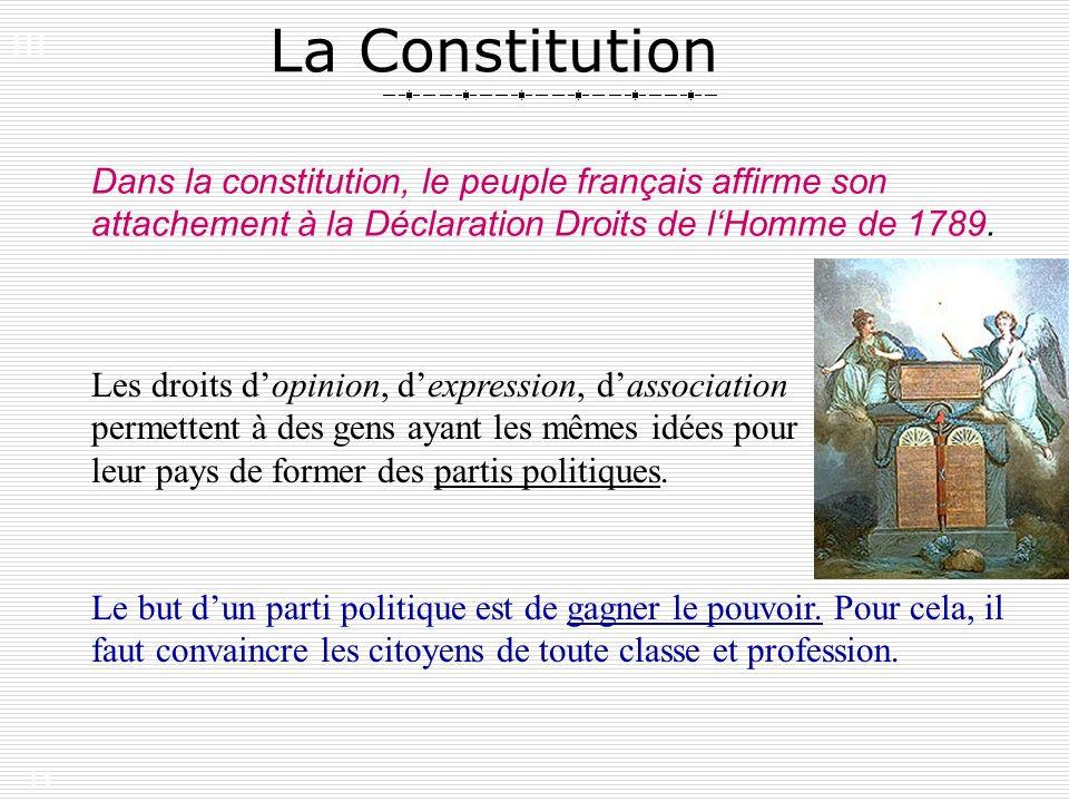 III. La Constitution. Dans la constitution, le peuple français affirme son attachement à la Déclaration Droits de l'Homme de 1789.