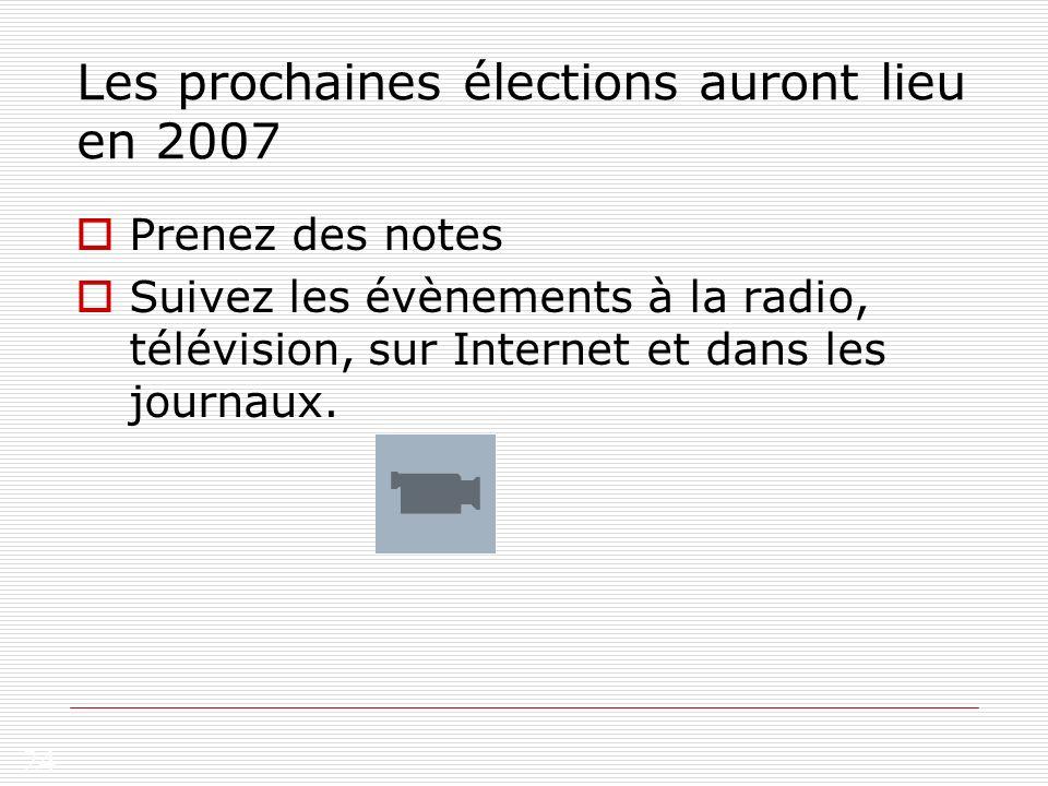 Les prochaines élections auront lieu en 2007