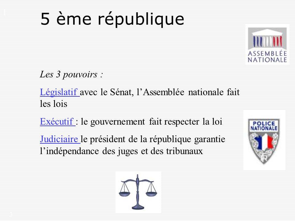 5 ème république I. Les 3 pouvoirs :