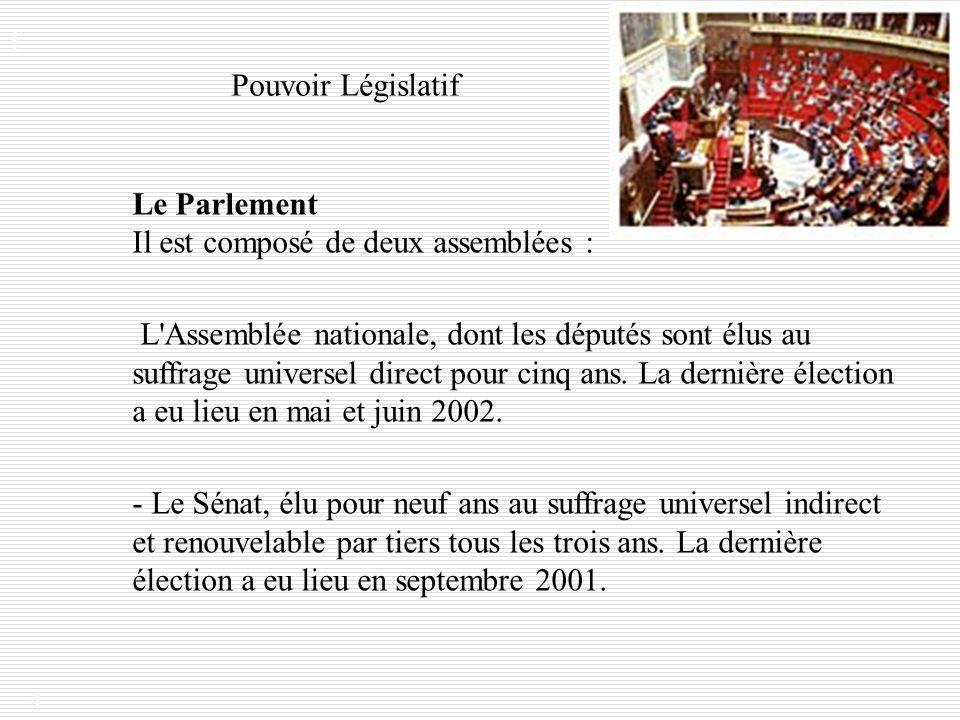 Le Parlement Il est composé de deux assemblées :