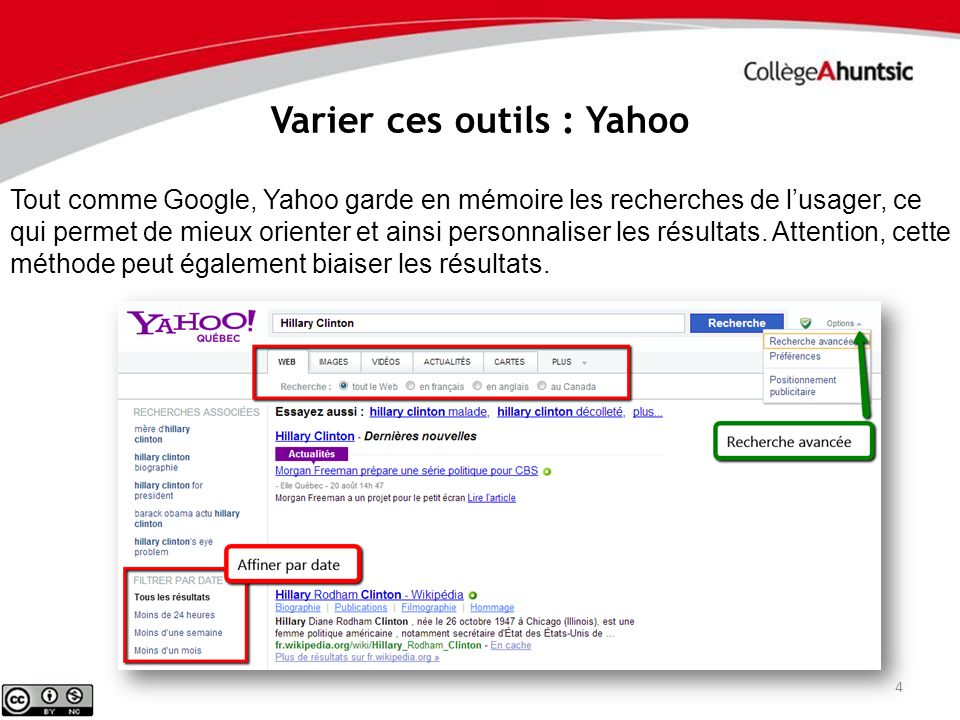 Varier ces outils : Yahoo