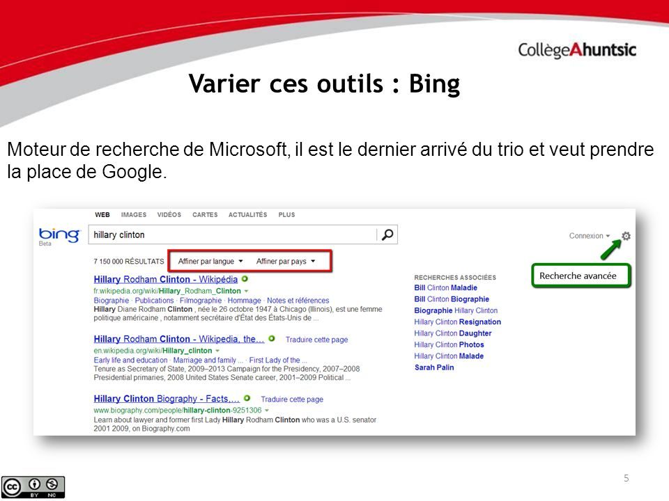 Varier ces outils : Bing