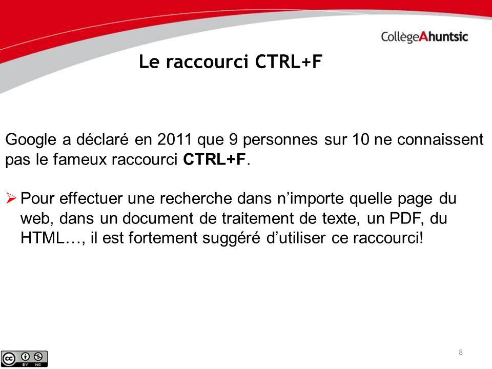 Le raccourci CTRL+F Google a déclaré en 2011 que 9 personnes sur 10 ne connaissent pas le fameux raccourci CTRL+F.