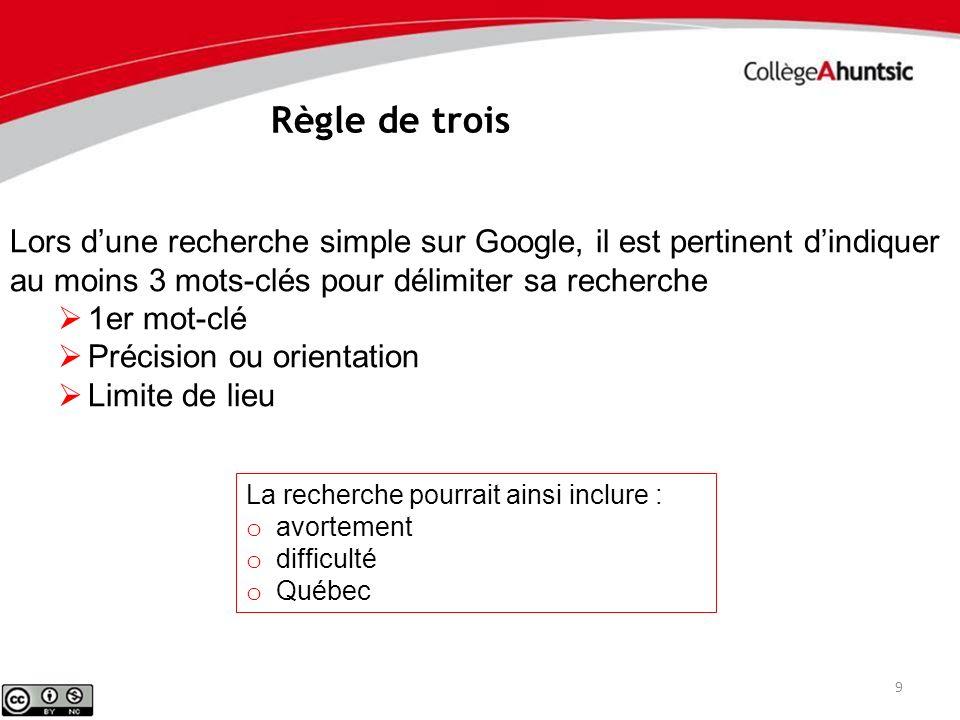 Règle de trois Lors d'une recherche simple sur Google, il est pertinent d'indiquer au moins 3 mots-clés pour délimiter sa recherche.