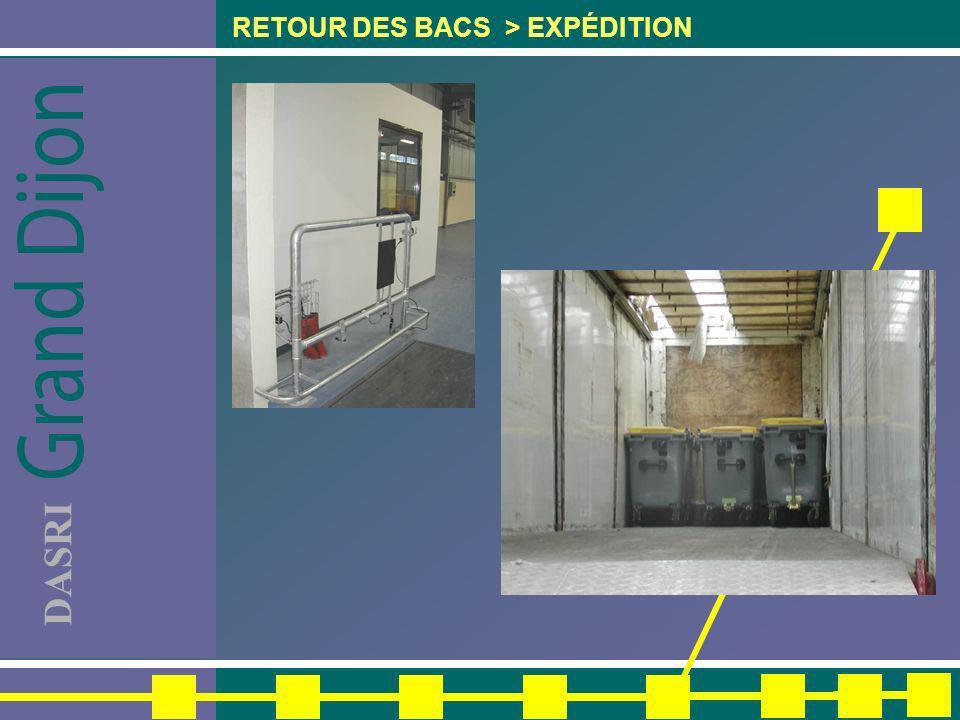 RETOUR DES BACS > EXPÉDITION