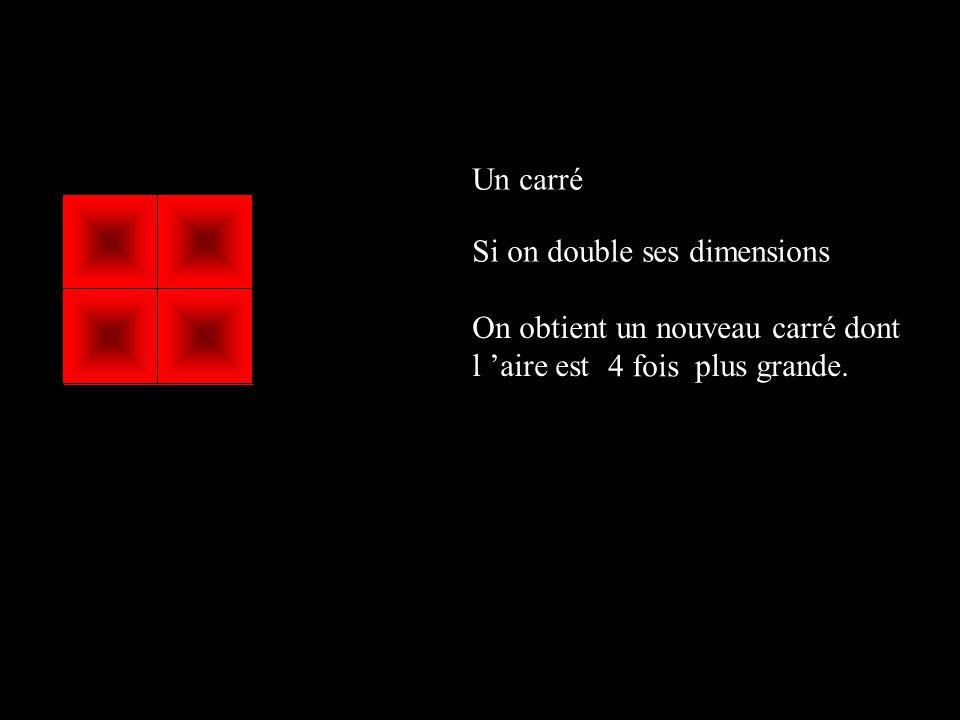 Un carré Si on double ses dimensions. On obtient un nouveau carré dont l 'aire est plus grande.