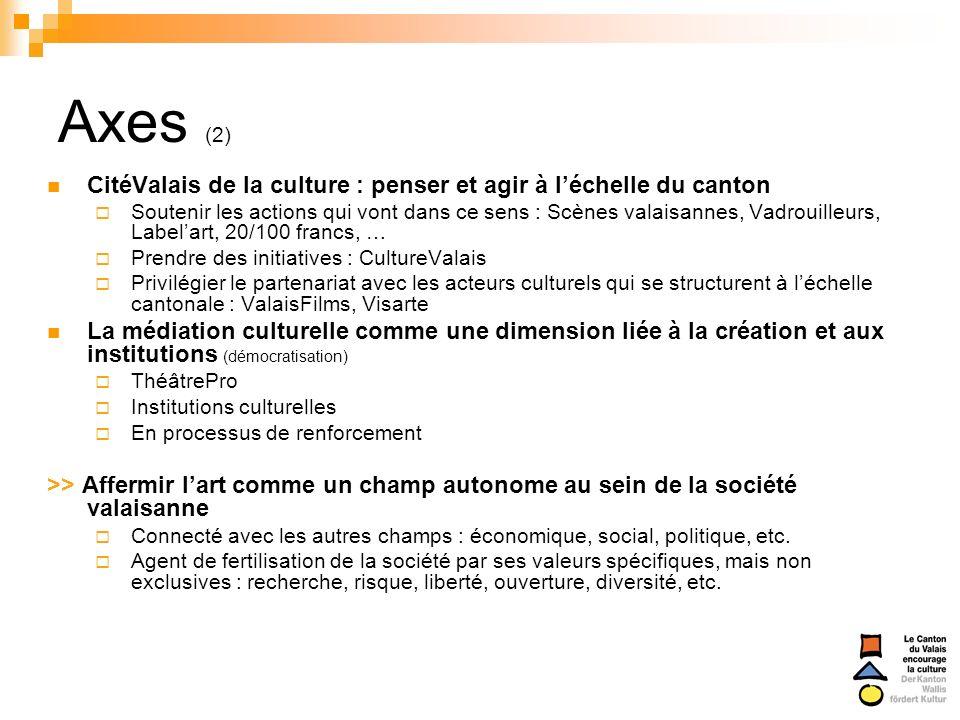 Axes (2) CitéValais de la culture : penser et agir à l'échelle du canton.