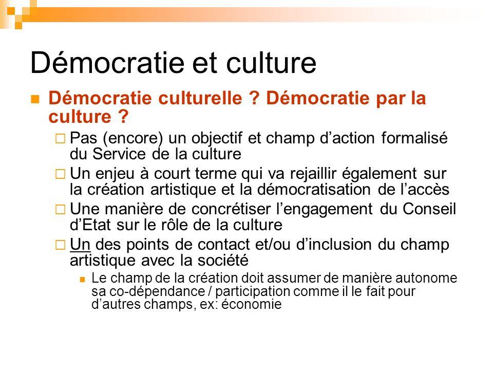 Démocratie et culture Démocratie culturelle Démocratie par la culture