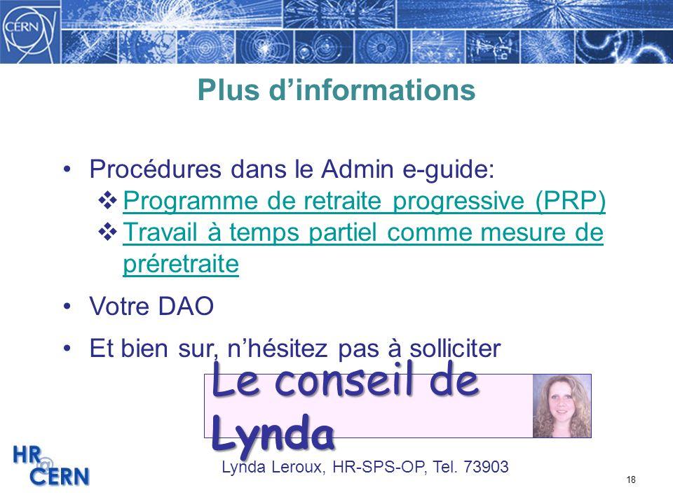 Le conseil de Lynda Plus d'informations