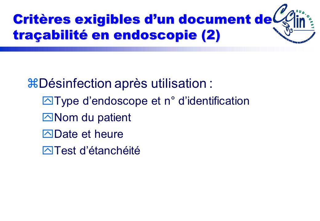 Critères exigibles d'un document de traçabilité en endoscopie (2)