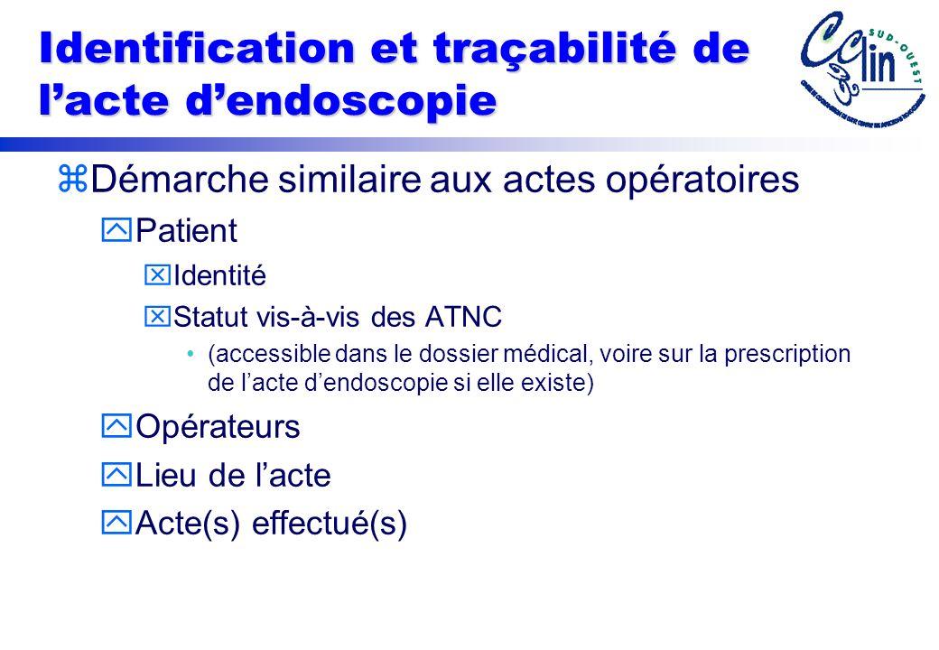 Identification et traçabilité de l'acte d'endoscopie