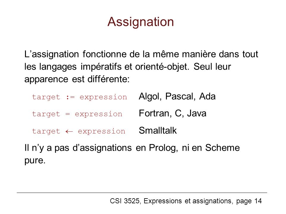 Assignation L'assignation fonctionne de la même manière dans tout les langages impératifs et orienté-objet. Seul leur apparence est différente: