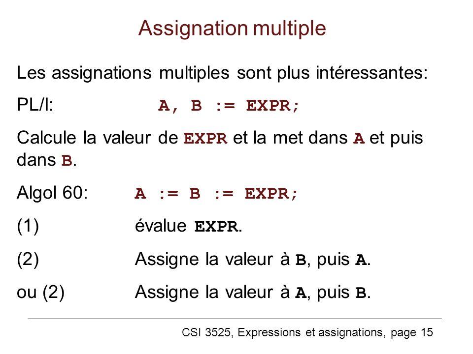 Assignation multiple Les assignations multiples sont plus intéressantes: PL/I: A, B := EXPR;