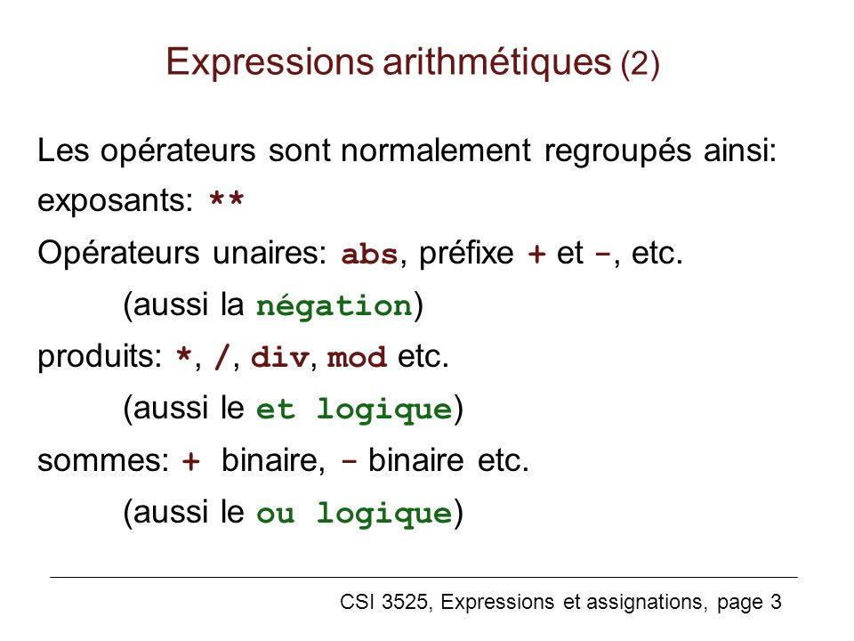 Expressions arithmétiques (2)