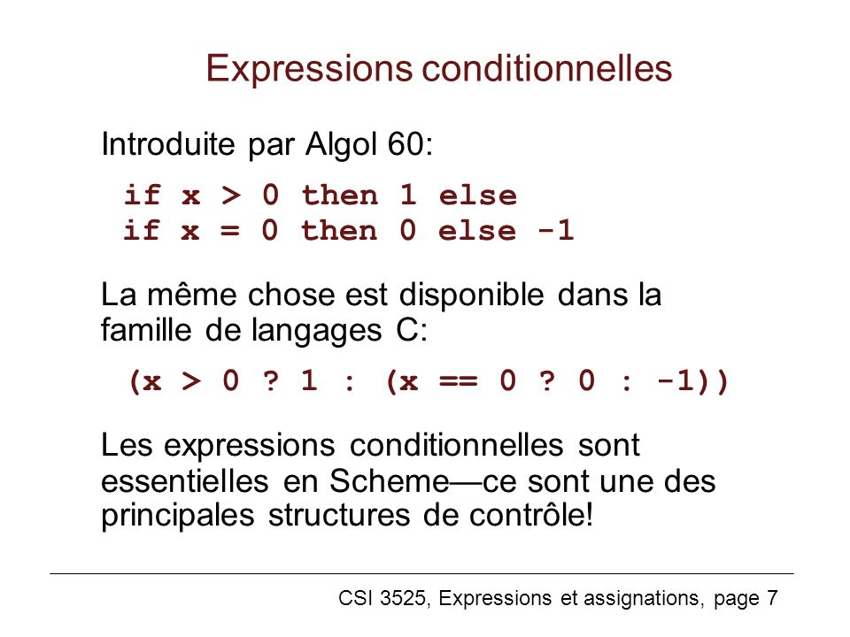 Expressions conditionnelles