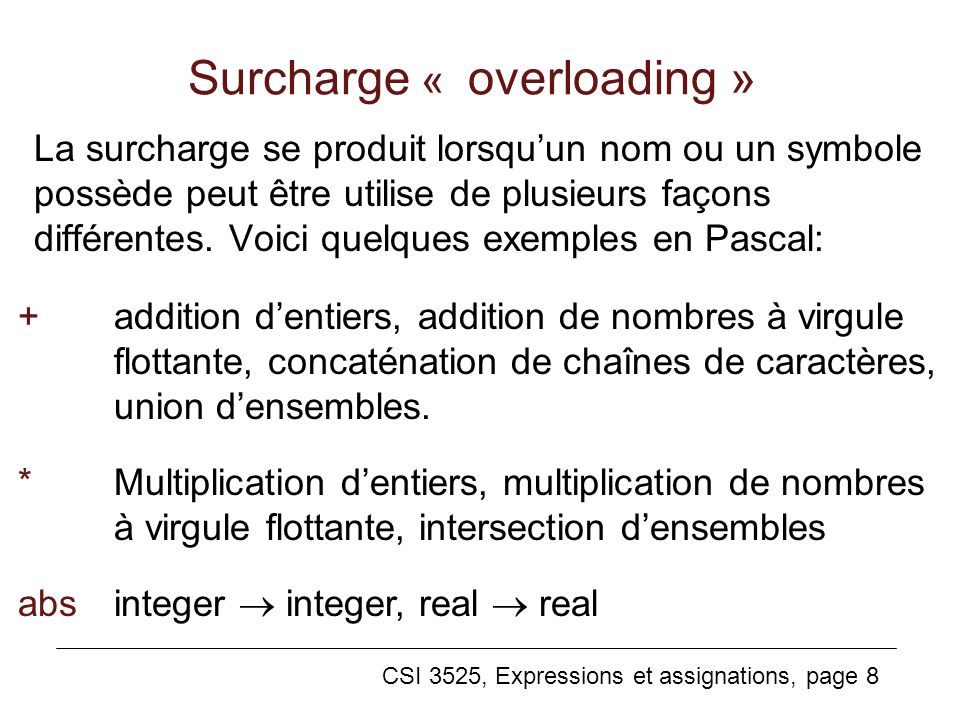 Surcharge « overloading »