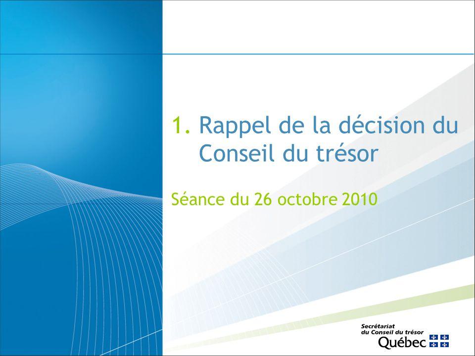 Plan de présentation Rappel de la décision du Conseil du trésor