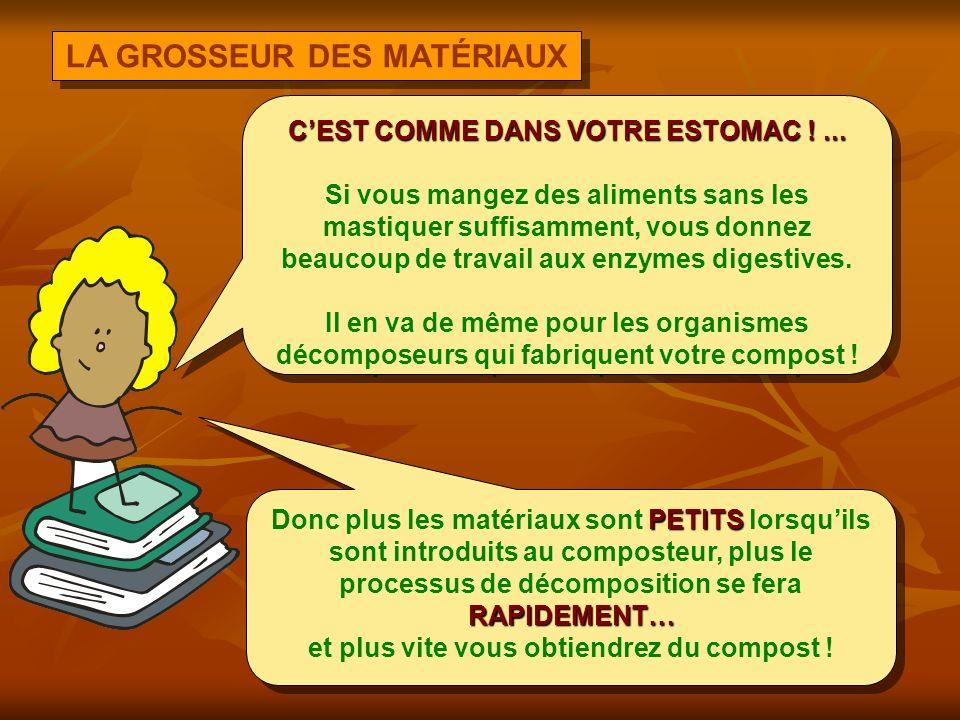 LA GROSSEUR DES MATÉRIAUX