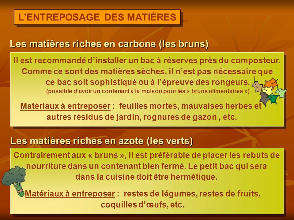 L'ENTREPOSAGE DES MATIÈRES Les matières riches en carbone (les bruns)