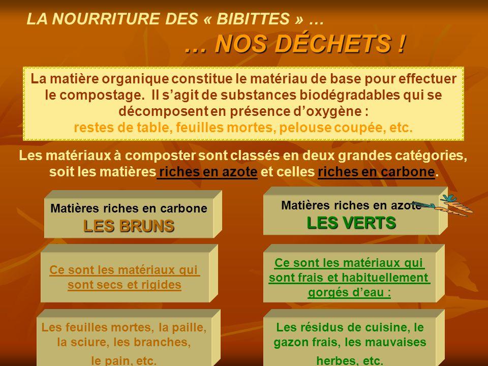… NOS DÉCHETS ! LA NOURRITURE DES « BIBITTES » … LES VERTS LES BRUNS