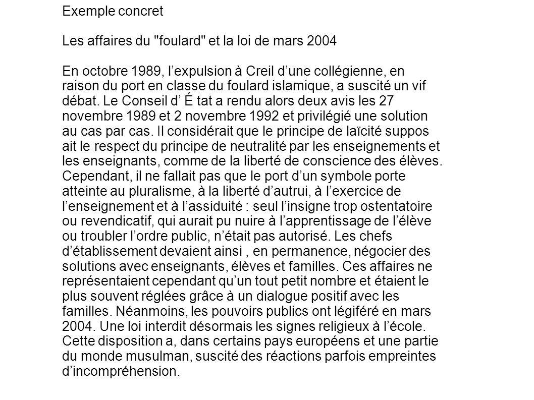 Exemple concret Les affaires du foulard et la loi de mars 2004.