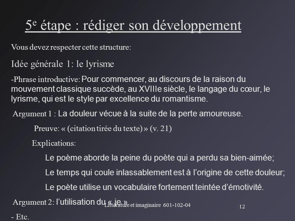 5e étape : rédiger son développement