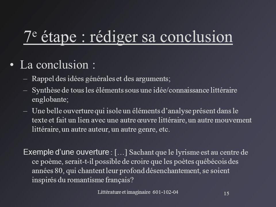 7e étape : rédiger sa conclusion