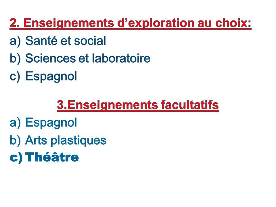3.Enseignements facultatifs