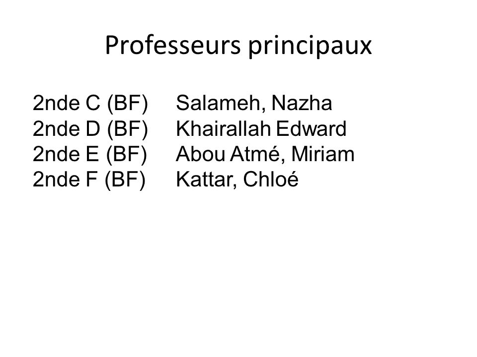 Professeurs principaux