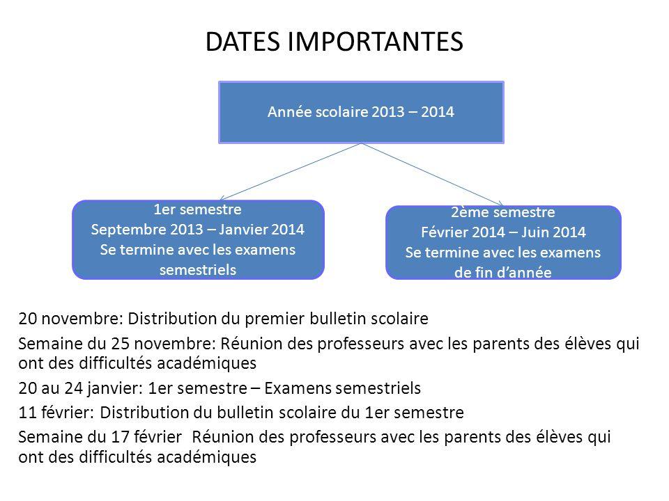 DATES IMPORTANTES Année scolaire 2013 – 2014. 20 novembre: Distribution du premier bulletin scolaire.