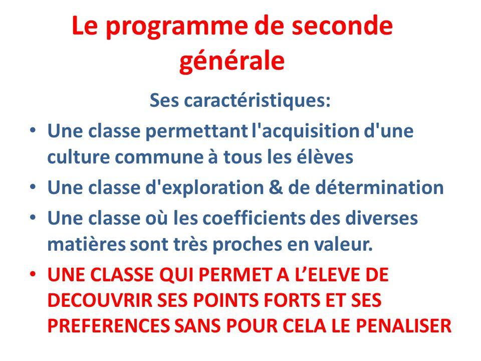 Le programme de seconde générale