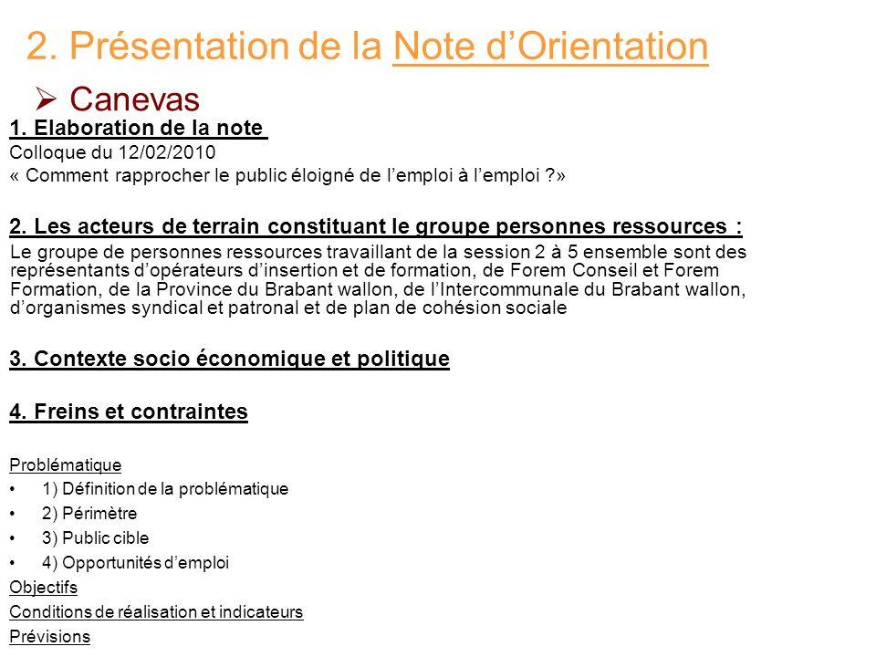 2. Présentation de la Note d'Orientation