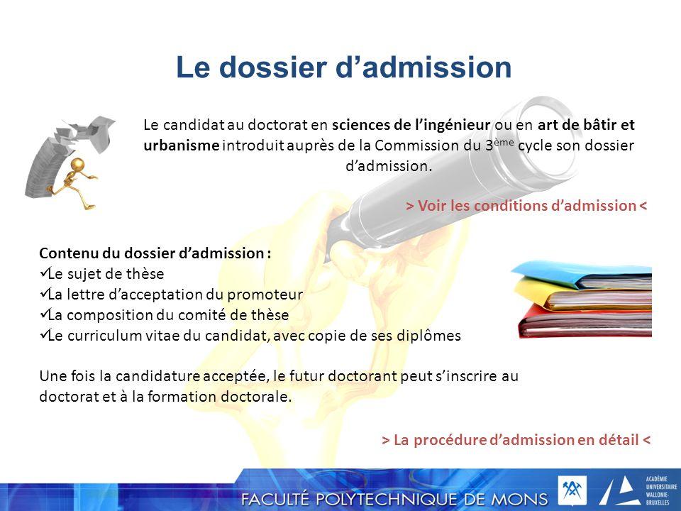 Le dossier d'admission
