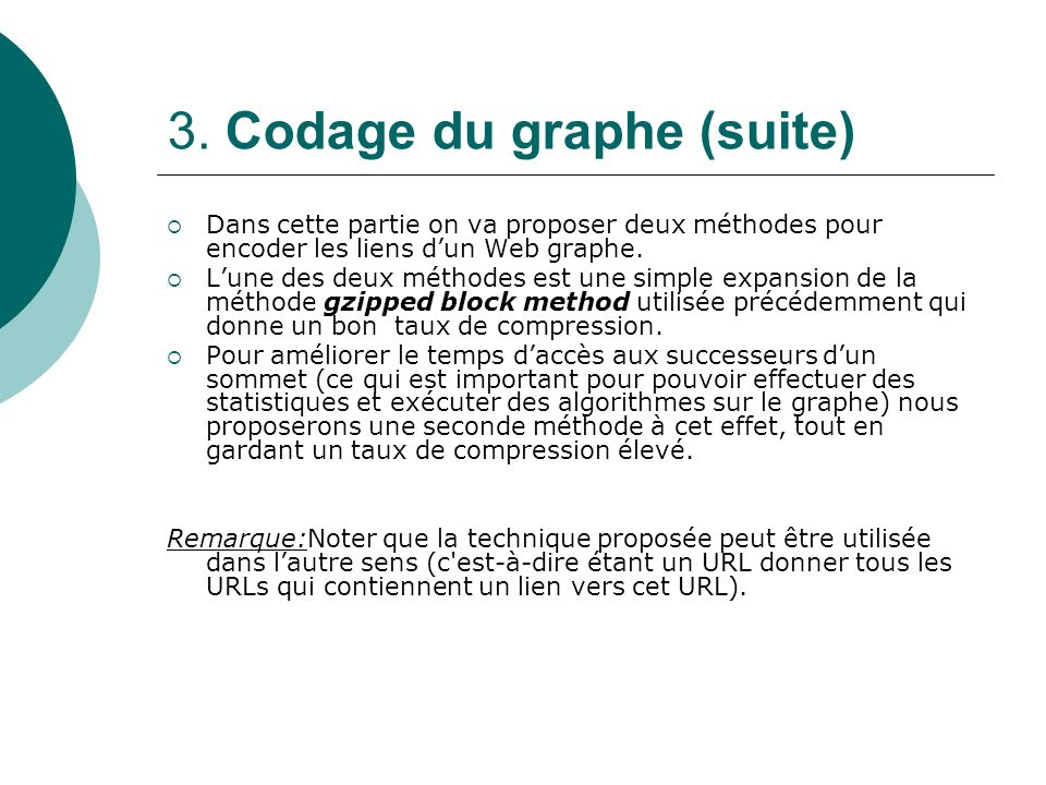 3. Codage du graphe (suite)
