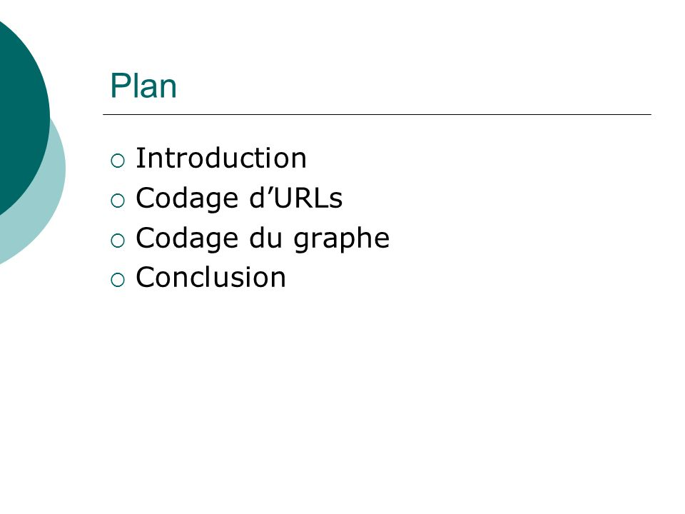 Plan Introduction Codage d'URLs Codage du graphe Conclusion