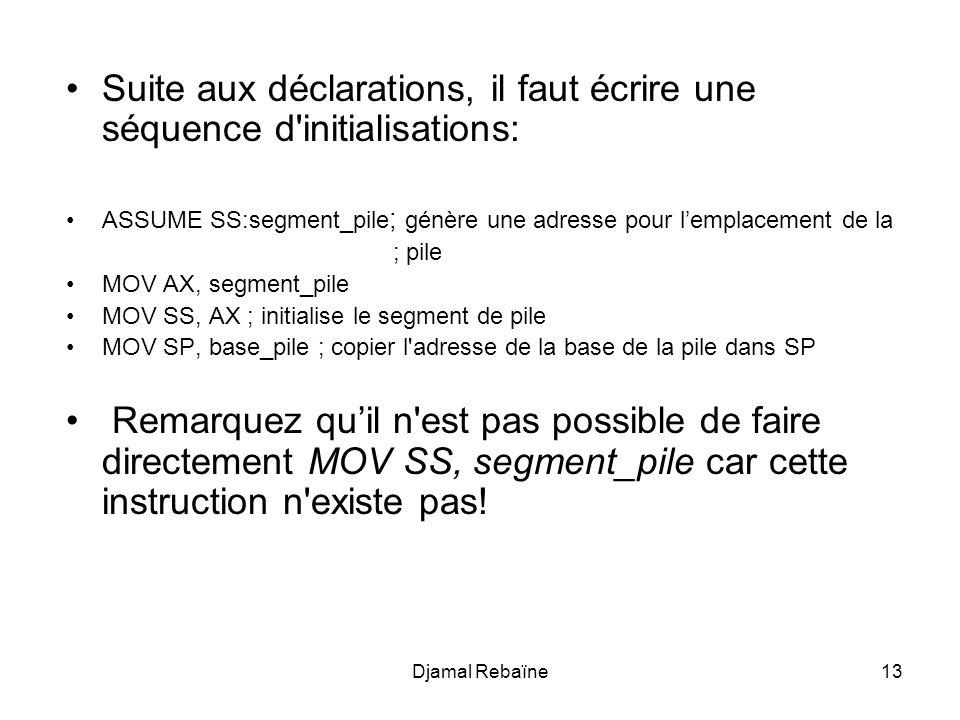 Suite aux déclarations, il faut écrire une séquence d initialisations: