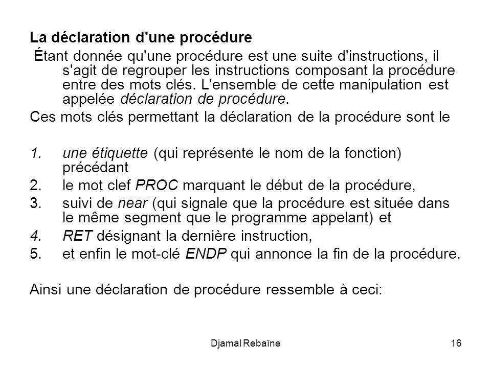 La déclaration d une procédure