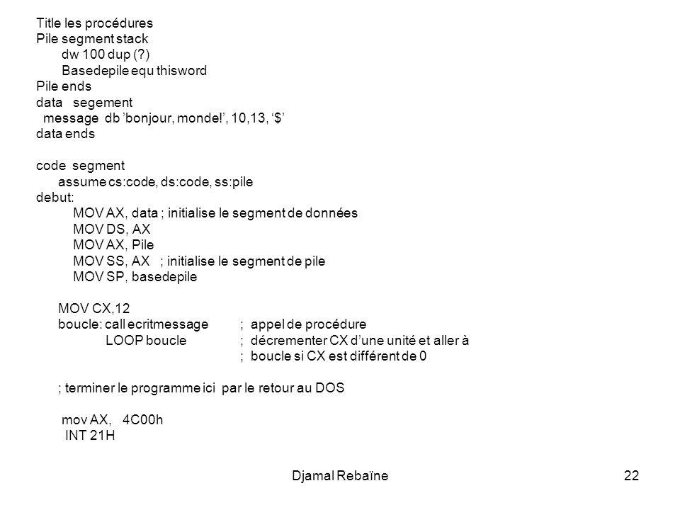 Title les procédures Pile segment stack. dw 100 dup ( ) Basedepile equ thisword. Pile ends. data segement.