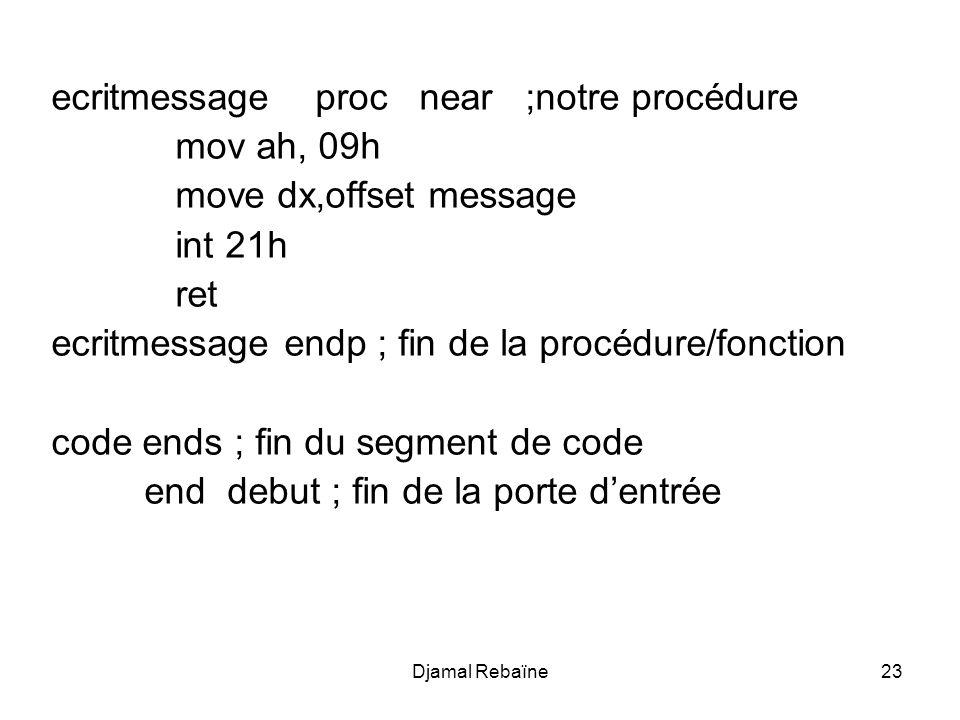 ecritmessage proc near ;notre procédure mov ah, 09h