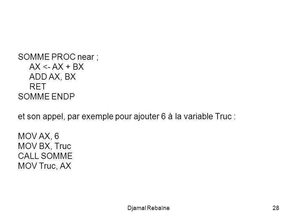 et son appel, par exemple pour ajouter 6 à la variable Truc :