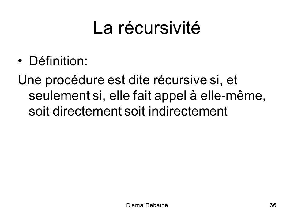 La récursivité Définition: