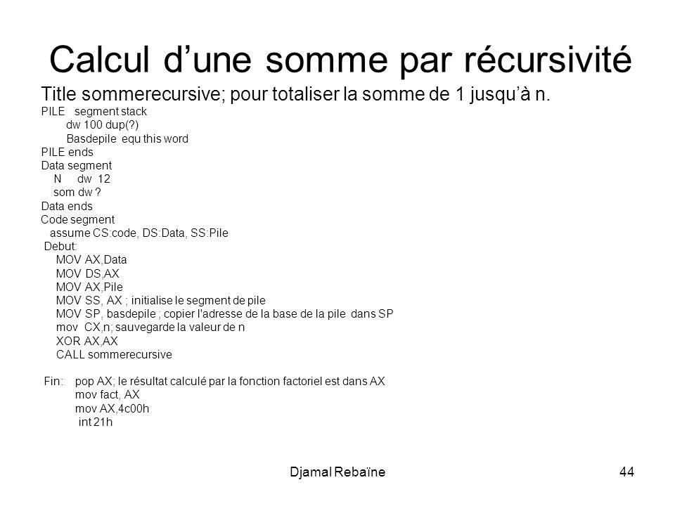 Calcul d'une somme par récursivité
