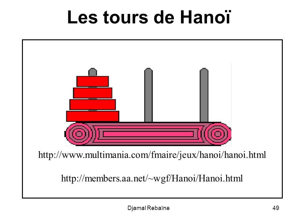 Les tours de Hanoï http://www.multimania.com/fmaire/jeux/hanoi/hanoi.html. http://members.aa.net/~wgf/Hanoi/Hanoi.html.