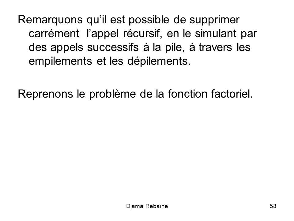 Reprenons le problème de la fonction factoriel.