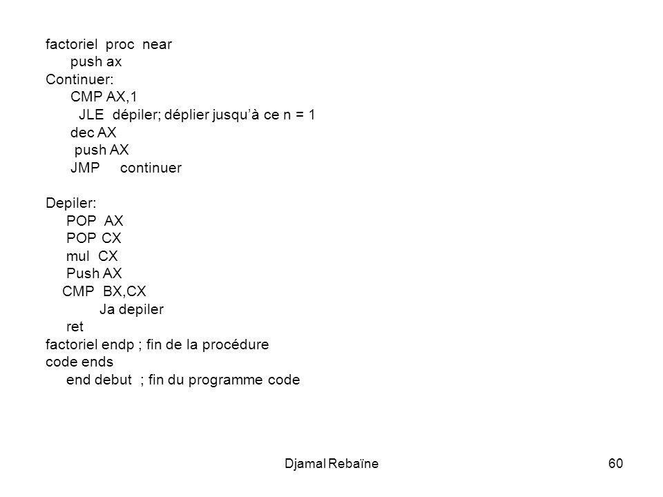 JLE dépiler; déplier jusqu'à ce n = 1 dec AX push AX JMP continuer