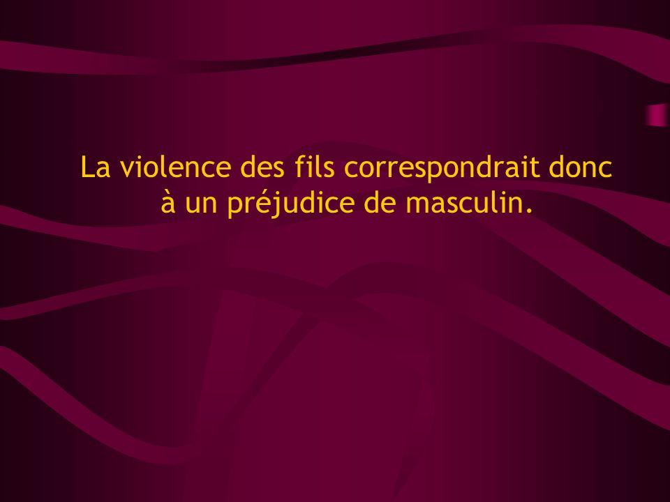 La violence des fils correspondrait donc à un préjudice de masculin.