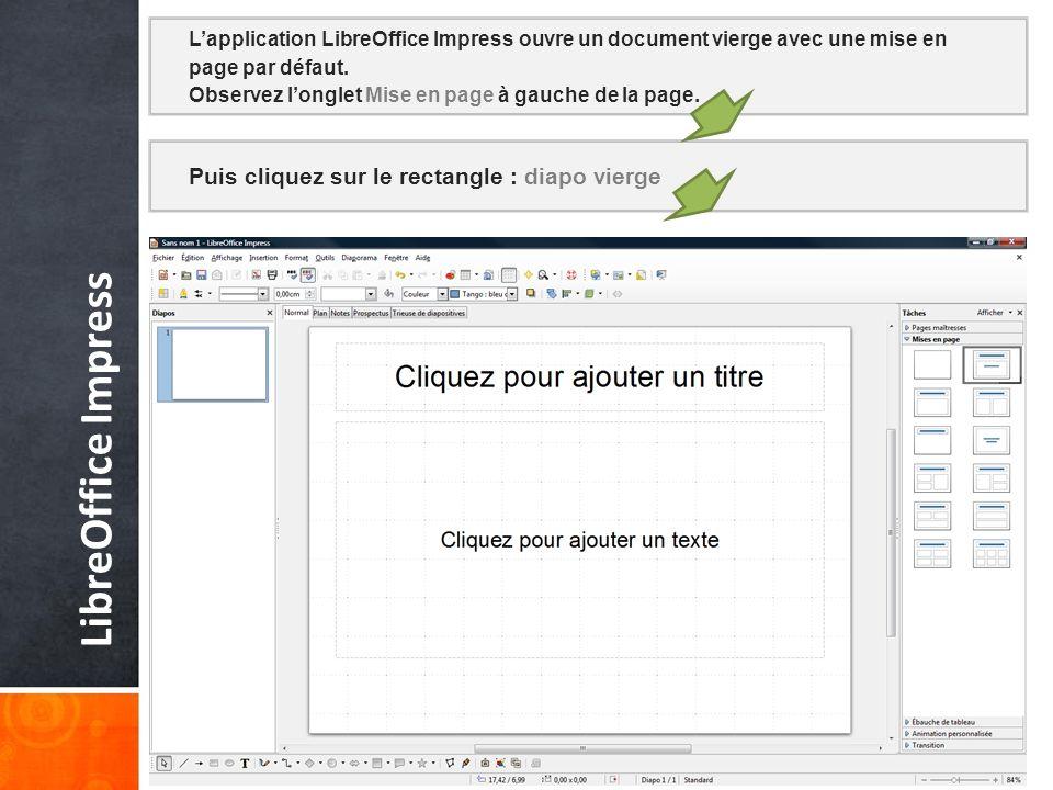 LibreOffice Impress Puis cliquez sur le rectangle : diapo vierge