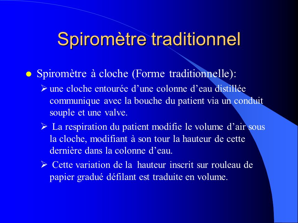 Spiromètre traditionnel