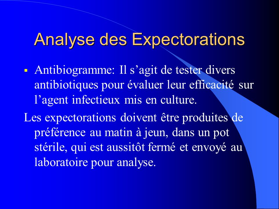 Analyse des Expectorations