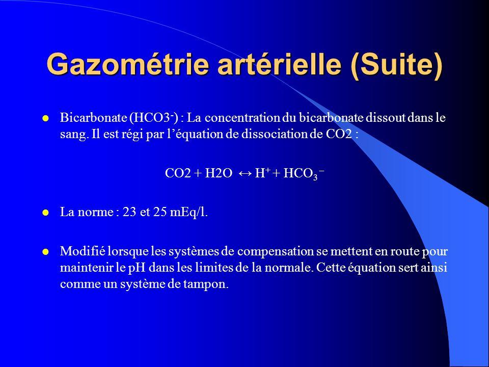 Gazométrie artérielle (Suite)